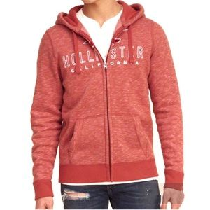 Hollister Red & White Graphic Hoodie
